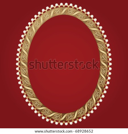 Vintage Oval Gold Frame Leaves Pearls Stock Vector 68928652 ...