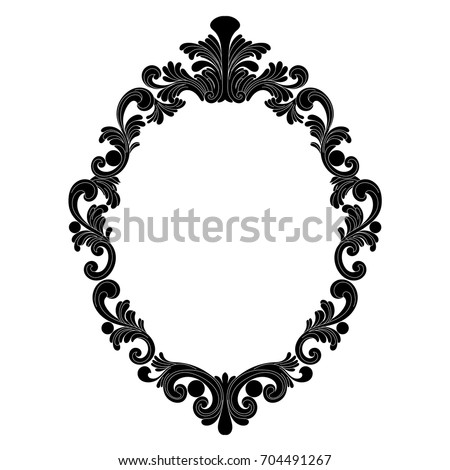 Vintage Oval Graphical Frame Antique Style Stock Vector 704491267