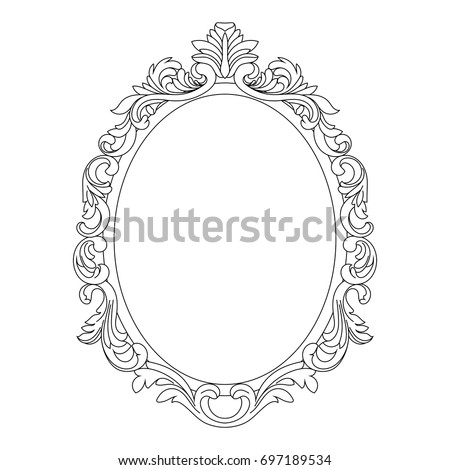 Vintage Oval Pattern Frame Decorative Mirror Stock Vector 2018 697189534