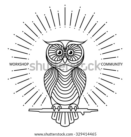 Vintage owl label in line art style. Bird design, retro graphic symbol. Vector logo or badge illustration