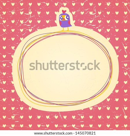 Vintage owls doodle frame and hearts seamless background. Hand drawn vector illustration.