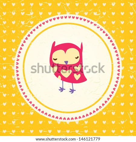 Vintage owls greeting card and hearts seamless background. Hand drawn vector illustration. Template for design cartoon greeting card, Valentines day background