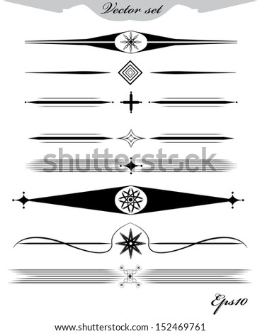 Vintage page dividers and elements. Lots of useful calligraphic design elements.  - stock vector