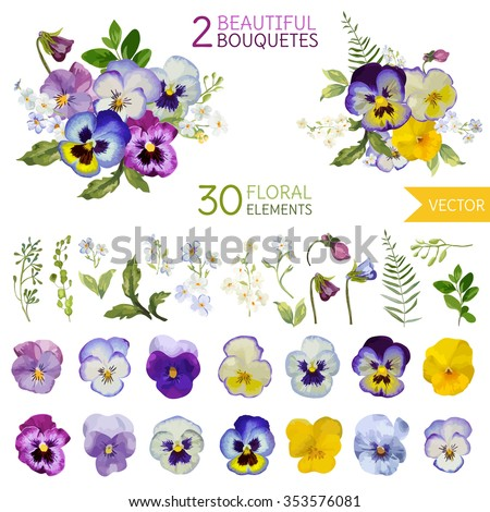Vintage Pansy Flowers and Leaves - in Watercolor Style - vector - stock vector