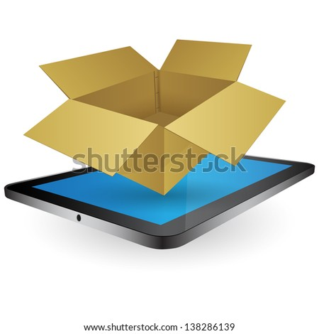 Vintage Paper Box on Tablet for Transportation Concept. Business, Technology and Transportation Concept, Vector Illustration EPS 10.