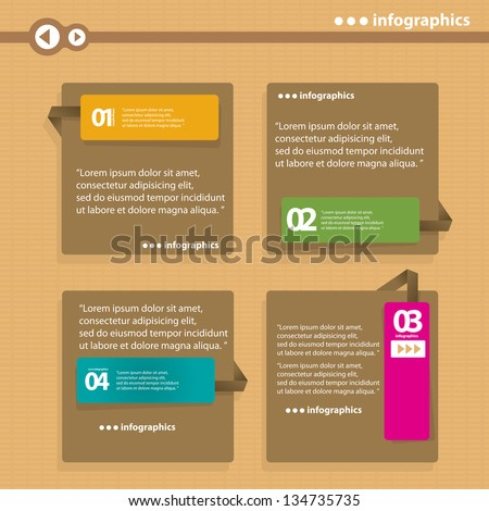 Vintage paper Design template / can be used for infographics / numbered banners / horizontal cutout lines / graphic or website layout vector - stock vector