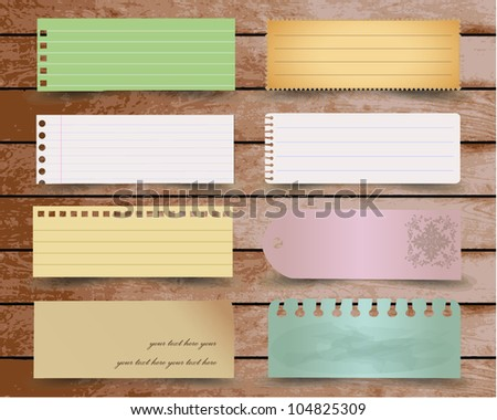 Vintage paper designs: various note papers on wood, ready for your message. Vector illustration. - stock vector