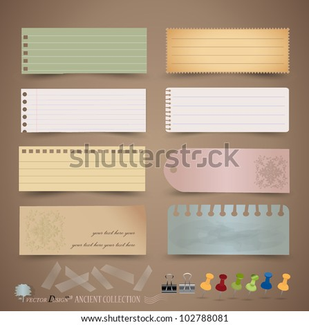 Vintage paper designs: various note papers, ready for your message. Vector illustration. - stock vector