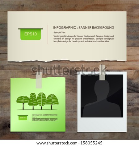 Vintage paper, note paper stick and blank photo on wooden texture background - Vector illustration - stock vector