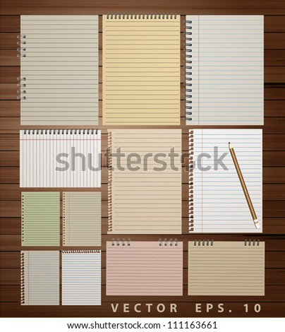 Vintage paper on wood background, vector illustration ( paper notebook, paper sheets, lined paper and note paper) - stock vector