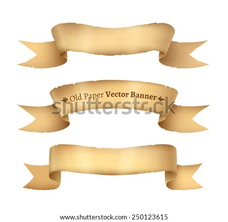 Vintage paper ribbon banners, vector illustration. Isolated. - stock vector