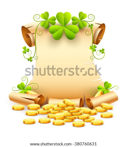 Vintage paper script of leaves clover and gold coins for day saint patricks vector illustration. Isolated white background. Transparent objects used lights shadows drawing - stock vector