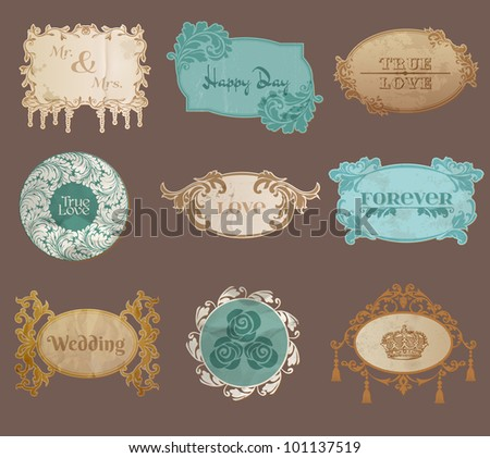 Vintage Paper Wedding Frame collection - various tags and frames for your design or scrapbook in vector - stock vector