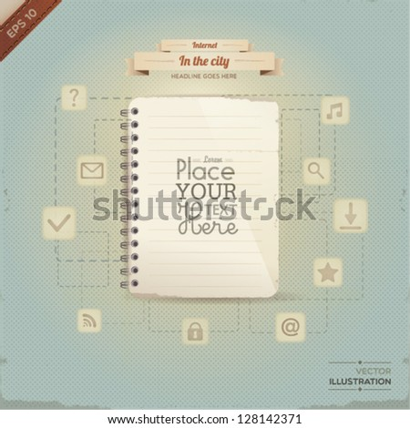 Vintage paper with set of network icons. (lined paper or note paper). EPS10 - stock vector