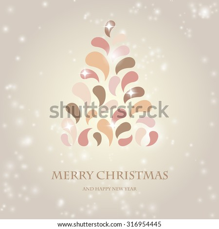 Vintage pastel colors design Christmas tree. Vector christmas design for Christmas poster, t-shirt or web design with retro fir tree - stock vector