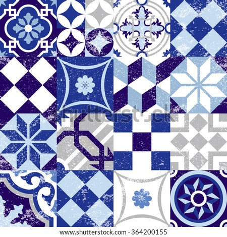 Vintage patchwork background with traditional blue tile decoration, classic mosaic style. EPS10 vector. - stock vector