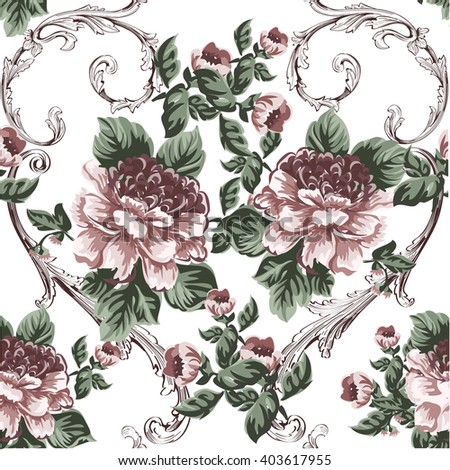 Vintage pattern in baroque style with flowers and baroque swirls on white - stock vector