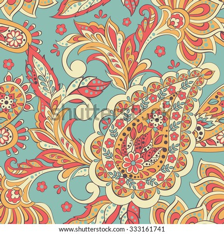 ... indian batik style. Seamless floral vector background - stock vector
