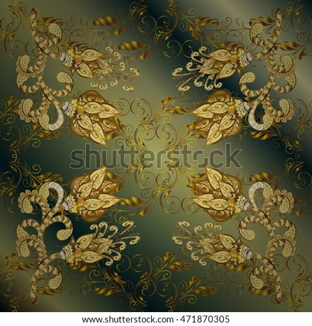 Vintage pattern on green gradient background with golden and yellow elements and shadows