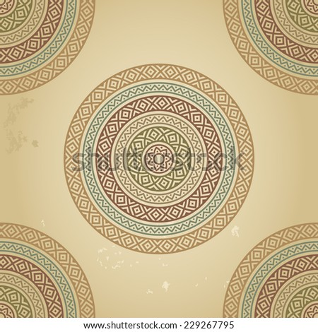 Vintage pattern with ethnic ornament on grunge background. Could be used for wallpaper, textiles, book design, pattern fills, web page background, surface textures, scrapbooking... Vector illustration - stock vector
