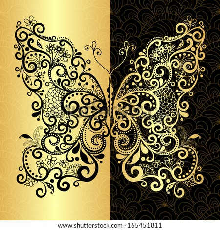 Vintage pattern with fantasy lacy gold-black butterfly (vector EPS 10) - stock vector