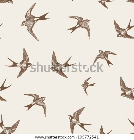 vintage pattern with little swallows - stock vector