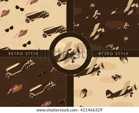 Vintage pattern with retro cars and retro airplane - stock vector