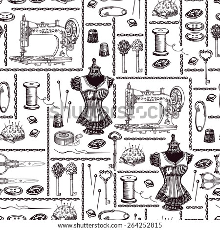 Vintage pattern with sewing accessories. Hand drawing. Seamless for fabric design, gift wrapping paper and printing and web projects.  - stock vector