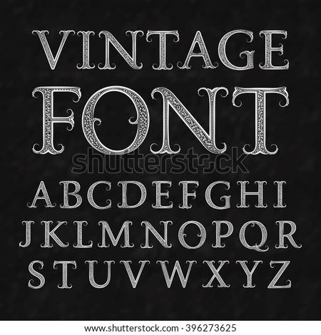 Vintage patterned letters. Vintage font in floral baroque style. Vintage latin alphabet. Vintage white capital letters on a black textured background. - stock vector