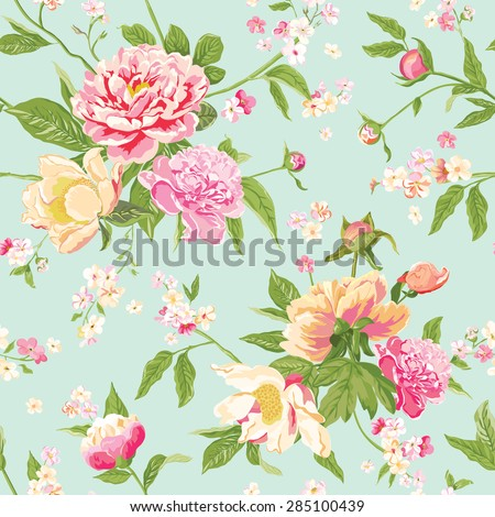 Vintage Peony Flowers Background - Seamless Floral Shabby Chic Pattern - in vector - stock vector