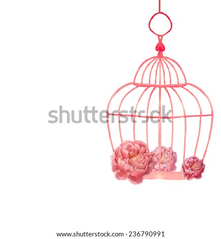 Vintage peony flowers posy and romantic cage. Watercolor wedding object isolated on white background. - stock vector