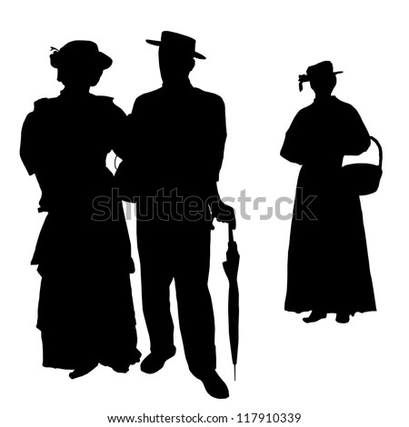 Vintage people silhouettes on white background, vector illustration - stock vector