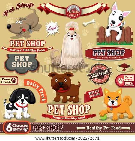 Vintage Pet shop poster design element - stock vector