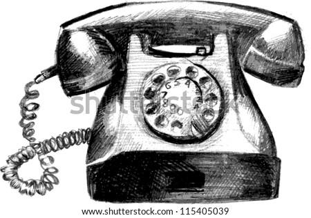 Vintage phone hand drawn sketch vector illustration - stock vector