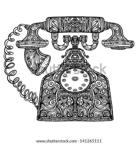 Vintage phone icon - vector - stock vector