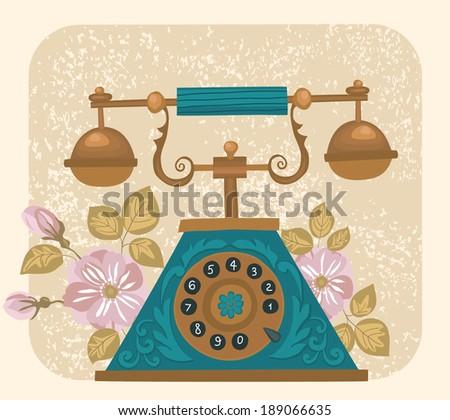 Vintage phone - illustration - stock vector