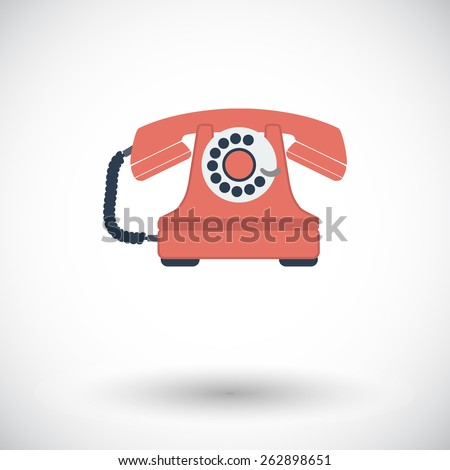 Vintage phone. Single flat icon on white background. Vector illustration. - stock vector