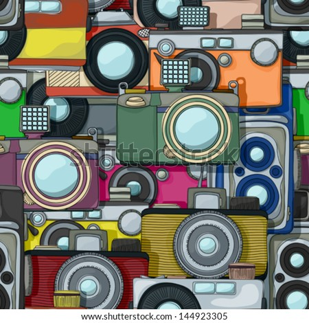 Vintage photo, film cameras, vector cartoon style  seamless pattern. Can be used for gifts wrapping paper of simply as a background. - stock vector