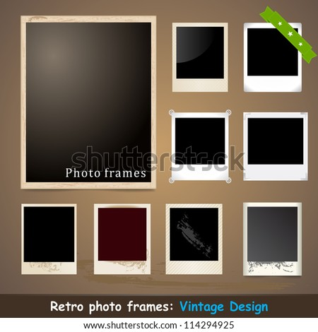 Vintage Photo Frame. Vector Design Template. Grunge Style. - stock vector