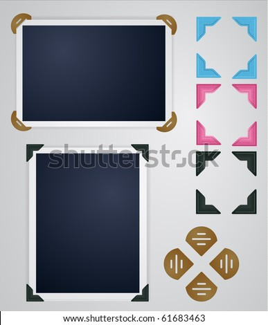 Vintage photo frames and corners - stock vector
