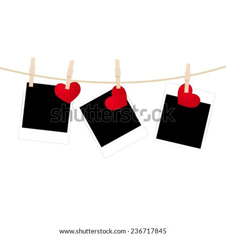 Vintage photos frame on the clothesline with hearts. Vector illustration. - stock vector