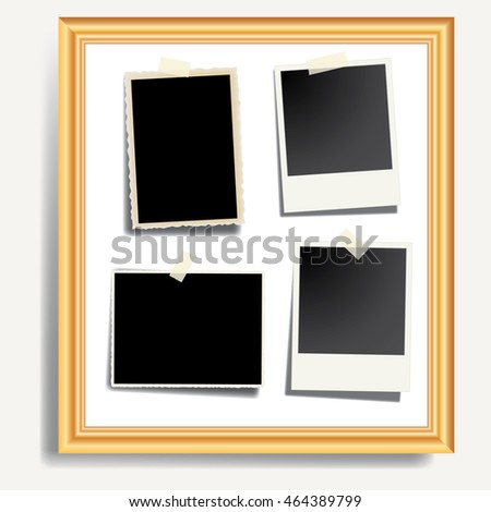 vintage photos in golden frame, vector illustration, layered background