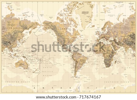 Vintage physical world map america centered colors brown stock vintage physical world map america centered colors brown stock vector 717674167 shutterstock gumiabroncs Gallery