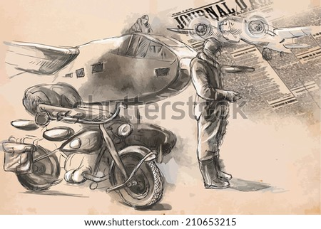 Vintage picture from the series: World between 1905-1949. At the airport - a soldier on a motorcycle between aircraft. An hand drawn vector illustration (converted). - stock vector