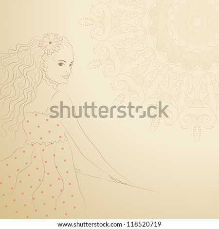 Vintage picture with a girl on an abstract background in warm colors - stock vector