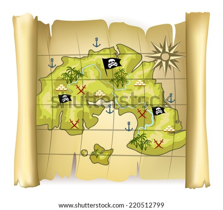 Vintage pirate map or treasure map with island and wind rose - stock vector