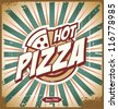 Vintage pizza sign, background, template or box design. Retro vector layout. - stock vector
