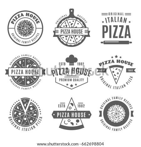 Vintage Pizzeria Design Elements Pizza House Stock Vector 662698804