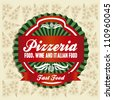 vintage pizzeria label illustrations, in warm colors, vector illustration - stock vector
