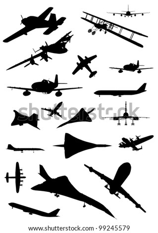 Vintage Plane Silhouette Set - stock vector